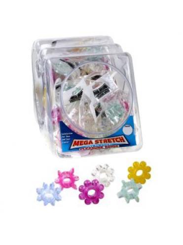 Набор из 6 разноцветных эрекционных колец Mega Stretch Silicone Pleasure Rings