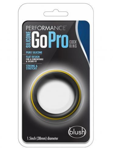 Черно-желтое силиконовое эрекционное кольцо Silicone Go Pro Cock Ring