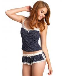Кокетливая пижамка в горошек Pollka dot jersey cami   shorts