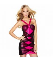 Комбинированное розово-черное платье
