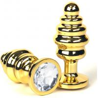 Золотистая ребристая анальная пробка с прозрачным кристаллом - 7 см.
