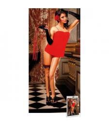 Красное короткое платье Spanish на тонких бретелях