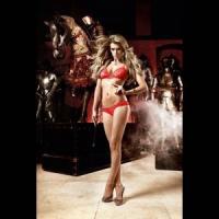 Красный полупрозрачный комплект-бикини из бюста и трусиков Deeper in Hell