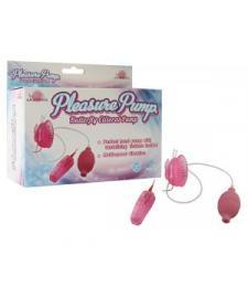 Розовая помпа с вибрацией Pleasure Pump Butterfly Clitoral