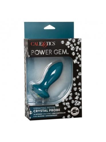 Бирюзовая анальная вибропробка с кристаллом Vibrating Petite Crystal Probe - 9,5 см.