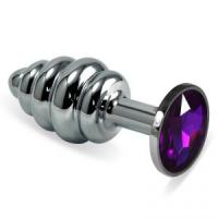 Ребристая анальная пробка Silver Small с фиолетовой вставкой - 7,6 см.