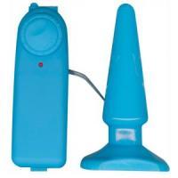 Голубая анальная пробка с вибрацией Funky Vibrating - 10,5 см.