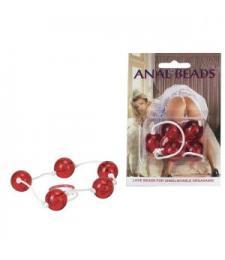 Красная анальная цепочка с пятью звеньями Anal Beads