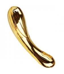 Премиум-вибромассажер, покрытый золотом, с функцией нагрева - 12 см.