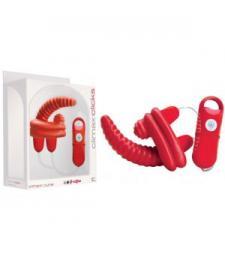Красный мини-вибратор с 7 функциями - 11,5 см.