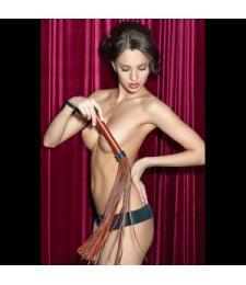 Коричневая кожаная плеть с 55 хвостами - 61 см.