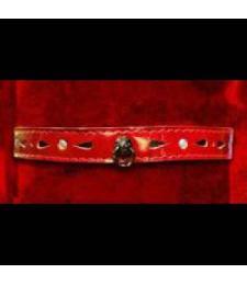 Декоративный красный ошейник со стразами и колечком