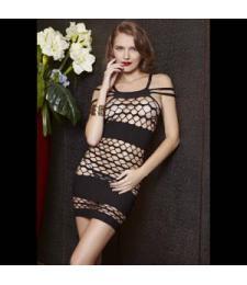 Откровенное платье с ячейками и непрозрачными полосами