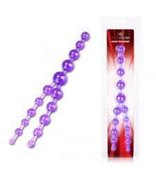 Фиолетовые анальные бусы Crazy Pleasure - 32 см.
