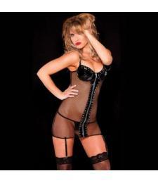 Сетевое платье с черными виниловыми вставками