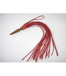 Красная кожная плеть  Комета  с рукоятью в виде анальной пробки - 60 см.