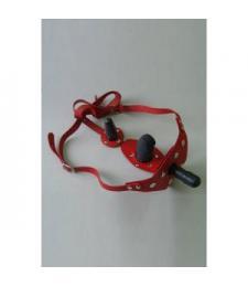 Красные кожаные трусики со штырьком и двумя съёмными стимуляторами