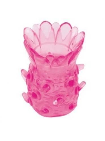 Розовая рельефная насадка на пенис