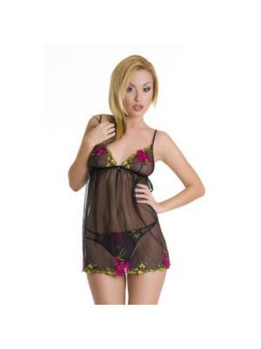 Сетевое платье беби-долл с розочками и трусики-стринг