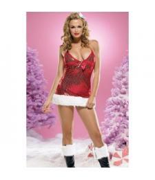Новогоднее мини-платье с меховой отделкой