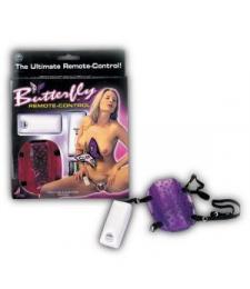 Фиолетовый вибростимулятор на ремешках BUTTERFLY REMOTE CONTROL
