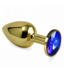 Золотистая металлическая анальная пробка с синим стразом - 7,6 см.