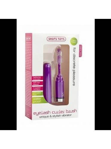 Фиолетовый мини-вибратор Eyelash Curler Brush в виде туши для ресниц - 13 см.
