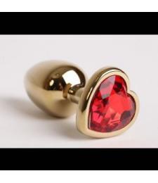 Золотистая анальная пробка с красным стразиком-сердечком - 7,5 см.