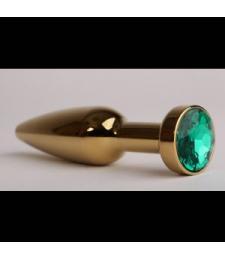 Золотистая анальная пробка с зеленым кристаллом - 11,2 см.