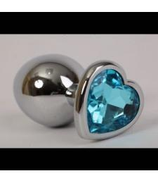 Золотистая анальная пробка с голубым стразиком-сердечком - 8 см.