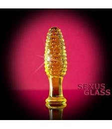 Стеклянная анально-вагинальная пробка с выпуклыми точками - 12 см.