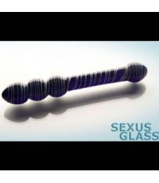 Синий стеклянный двусторонний стимулятор - 17,5 см.