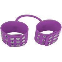 Фиолетовые силиконовые наручники с заклепками