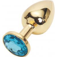 Золотистая анальная пробка с голубым кристаллом размера M - 8 см.