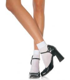 Белые полупрозрачные носочки SATIN CUFF ANKLETS