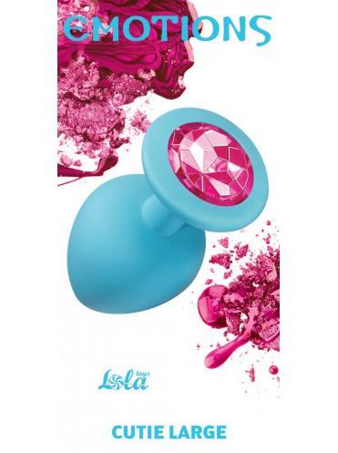 Большая голубая анальная пробка Emotions Cutie Large с розовым кристаллом - 10 см.