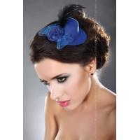 Синяя мини-шляпка с перышком