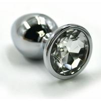 Серебристая алюминиевая анальная пробка с прозрачным кристаллом - 6 см.