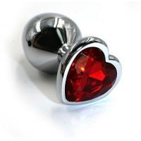 Серебристая анальная пробка с красным кристаллом-сердцем - 8,2 см.