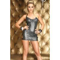 Эффектное клубное платье серебристого цвета
