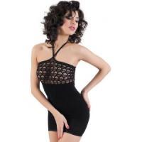 Черное бесшовное платье с ажурным верхом