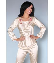 Роскошная пижама Nima с цветочной вышивкой у горловины