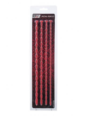 Набор из 4 красных уретральных зондов TOYFA Black Red различного диаметра