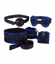 Сине-черный комплект для БДСМ-игр: наручники, кляп-шарик, маска, ошейник