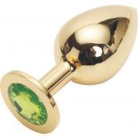 Золотистая анальная пробка GOLDEN PLUG Large с светло-зелёным кристаллом - 9,5 см.