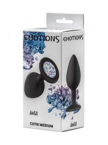 Чёрная анальная пробка Emotions Cutie Medium с прозрачным кристаллом - 8,5 см.