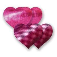Комплект из 1 пары пурпурных пэстис-сердечек с блестками и 1 пары пурпурных пэстис-сердечек  с гладкой поверхностью