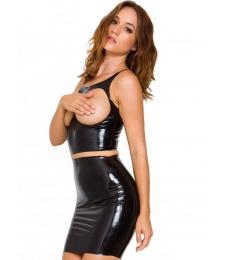 Чёрная бесшовная юбка из латекса