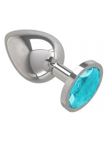 Серебристая большая анальная пробка с голубым кристаллом - 9,5 см.
