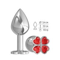 Средняя серебристая анальная втулка с клевером из красных кристаллов - 8,5 см.